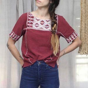 Madewell Embroidered Linen Blend Short Sleeve Top
